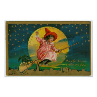 Jolly Halloween Vintage Witch Posters