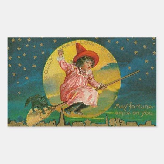 Jolly Halloween Vintage Witch Rectangular Sticker