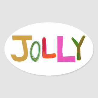 Jolly happy fun lively funny colorful word art oval sticker
