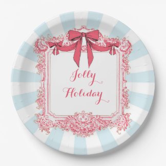 Jolly Holiday Ribbons and Bows Paper Plate 9 Inch Paper Plate