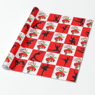 JOLLY HOLLY BALLERINA CHRISTMAS DESIGN WRAPPING PAPER