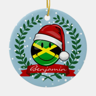 Jolly Jamaican Flag Christmas Style Round Ceramic Decoration