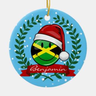 Jolly Jamaican Flag Christmas Style Round Ceramic Decoration