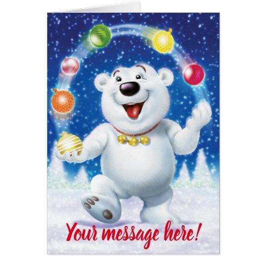 Jolly juggling Polar Bear custom Christmas card
