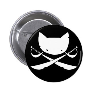 Jolly Kitty Pirate Button