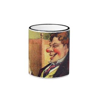 Jolly Man Toasting with Cognac Mugs