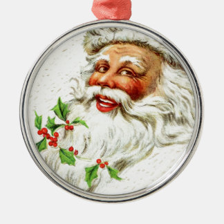 Jolly Old Saint Nick Silver-Colored Round Decoration
