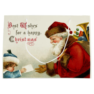 Jolly Old World Santa and Child Large Gift Bag