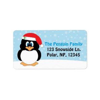 Jolly Penguin Christmas Address Label