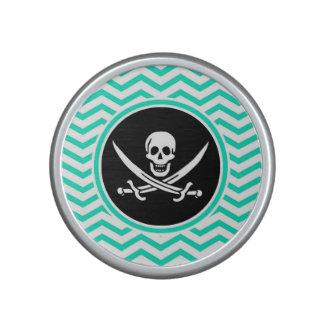 Jolly Roger Aqua Green Chevron Bluetooth Speaker
