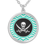 Jolly Roger; Aqua Green Chevron Personalized Necklace