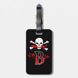 Jolly Roger B Monogram Initial Luggage Tag