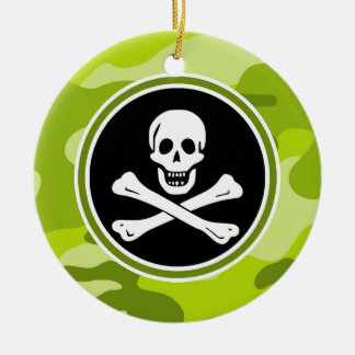 Jolly Roger; bright green camo, camouflage Round Ceramic Decoration