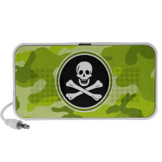 Jolly Roger; bright green camo, camouflage iPhone Speakers