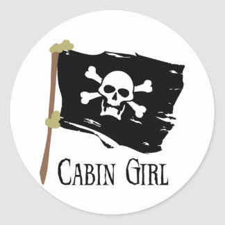 Jolly Roger Cabin Girl Round Stickers