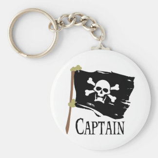 Jolly Roger Captain Basic Round Button Key Ring