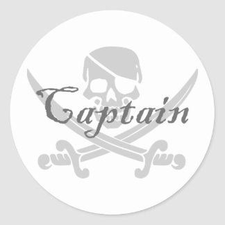 Jolly Roger Captain Round Sticker