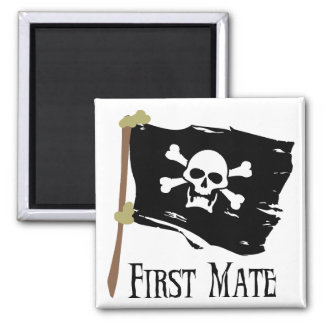 Jolly Roger First Mate Square Magnet