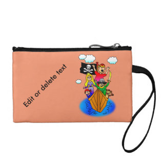 Jolly Roger Flying on Pirate Boat Bobbing on Water Coin Purse