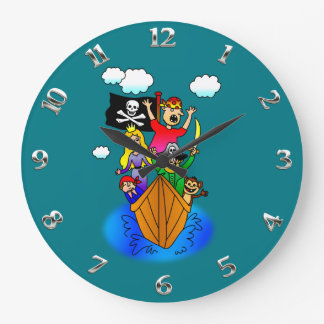 Jolly Roger Flying on Pirate Boat Bobbing on Water Large Clock