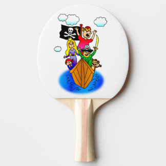Jolly Roger Flying on Pirate Boat Bobbing on Water Ping Pong Paddle