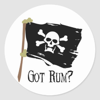 Jolly Roger Got Rum Round Sticker