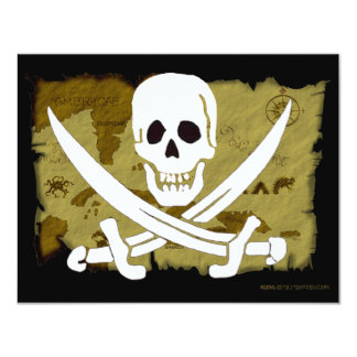 Jolly Roger Map #10 4.25x5.5 Paper Invitation Card