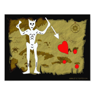 Jolly Roger Map  #1 4.25x5.5 Paper Invitation Card