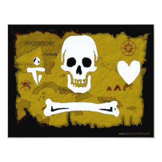 Jolly Roger Map #2 11 Cm X 14 Cm Invitation Card