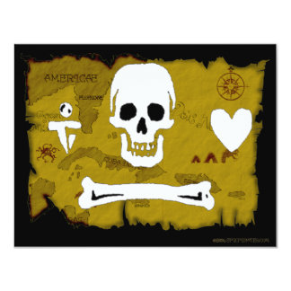 Jolly Roger Map #2 4.25x5.5 Paper Invitation Card