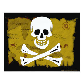 Jolly Roger Map #3 4.25x5.5 Paper Invitation Card
