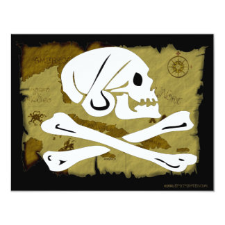 Jolly Roger Map #4 4.25x5.5 Paper Invitation Card