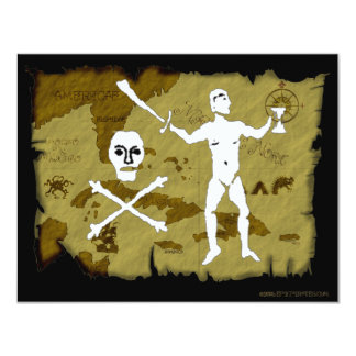 Jolly Roger Map # 5 4.25x5.5 Paper Invitation Card