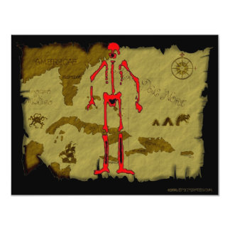 Jolly Roger Map #6 4.25x5.5 Paper Invitation Card