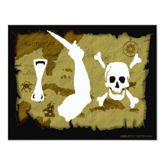 Jolly Roger Map #7 4.25x5.5 Paper Invitation Card