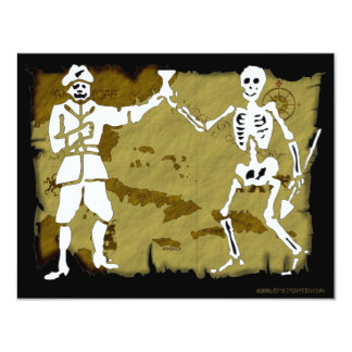 Jolly Roger Map  #8 4.25x5.5 Paper Invitation Card