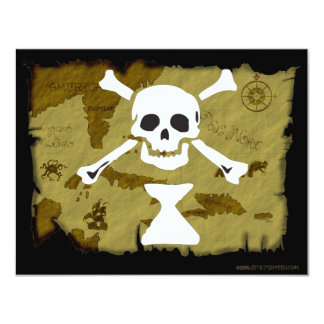 Jolly Roger Map  #9 11 Cm X 14 Cm Invitation Card
