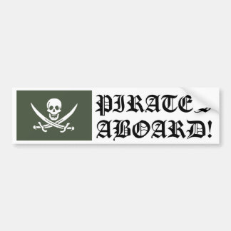 Jolly Roger of Calico Jack Rackham (Green) Bumper Sticker