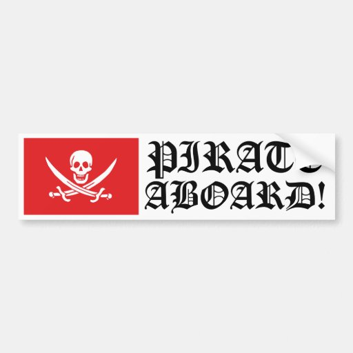 Jolly Roger of Calico Jack Rackham (RED) Bumper Sticker