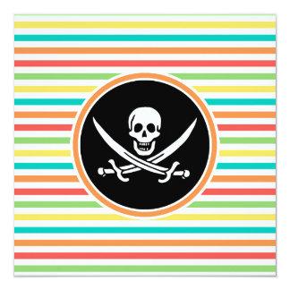 Jolly Roger on Bright Rainbow Stripes Invites