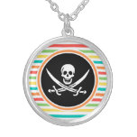 Jolly Roger on Bright Rainbow Stripes Personalized Necklace