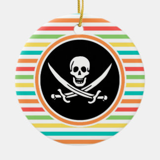 Jolly Roger on Bright Rainbow Stripes Round Ceramic Decoration