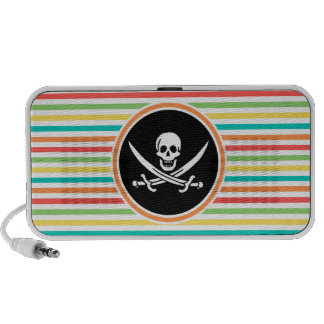 Jolly Roger on Bright Rainbow Stripes Travelling Speakers