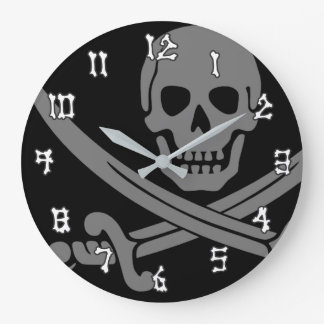 Jolly Roger Pirate Dark Large Clock