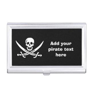 Jolly roger pirate flag business card holder