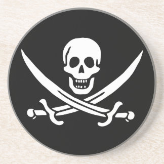 Jolly Roger Pirate Flag Drink Coaster