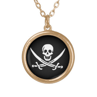 Jolly roger pirate flag gold plated necklace
