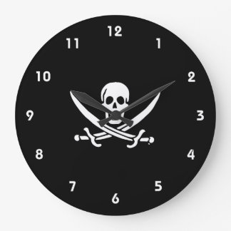 Jolly roger pirate flag large clock