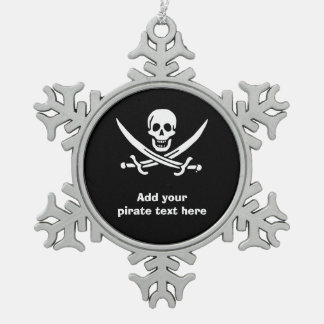 Jolly roger pirate flag pewter snowflake decoration