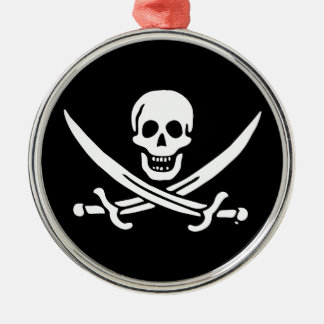 Jolly roger pirate flag Silver-Colored round decoration